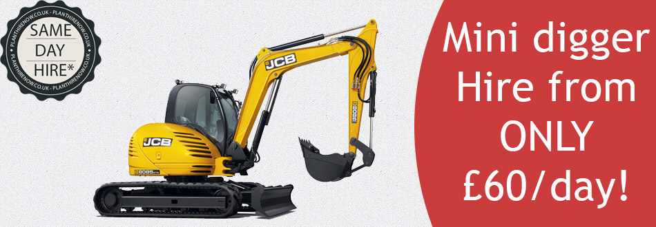 Digger\excavator hire from only £60 per day!